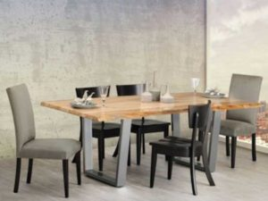 The Canal Dover Bordeaux table set is a modern collection that features a rustic table atop a steel base.
